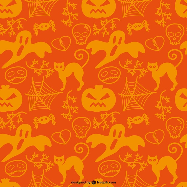 halloween ghosts and pumpkins pattern free vector