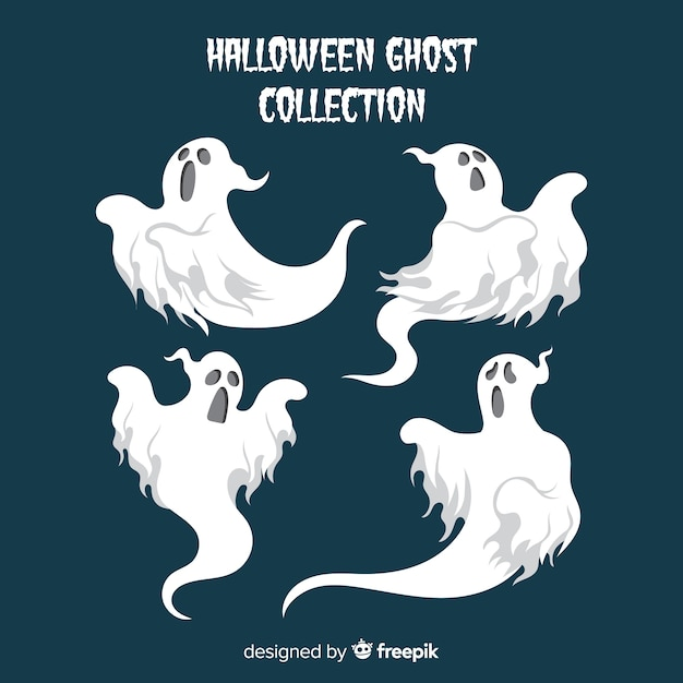 Halloween ghosts collection in different poses Free Vector
