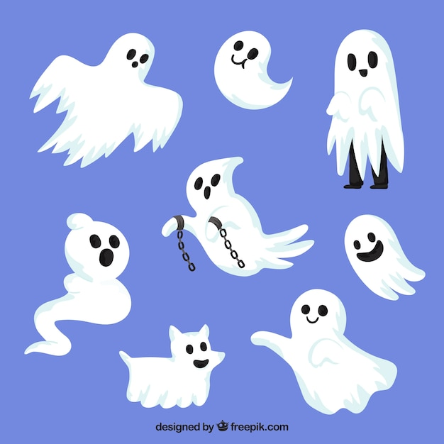 Halloween ghosts with creepy style Vector | Free Download