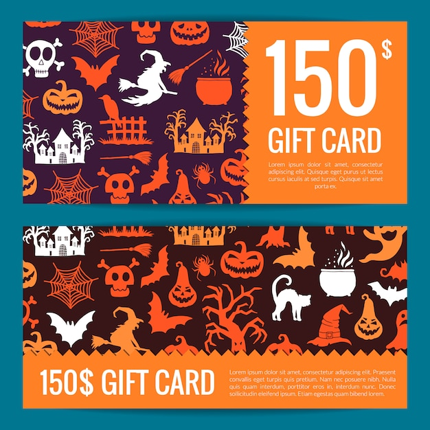 Halloween gift card or voucher templates with witches,  pumpkins,  ghosts and spiders silhouettes Premium Vector
