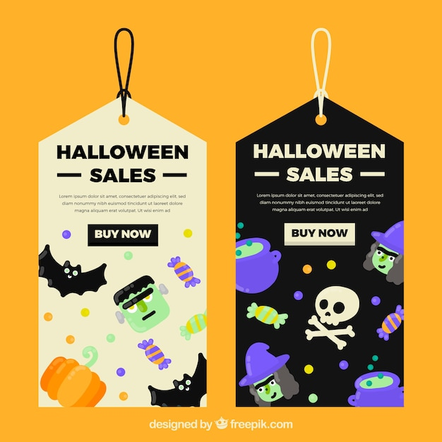 Halloween gift tags Free Vector