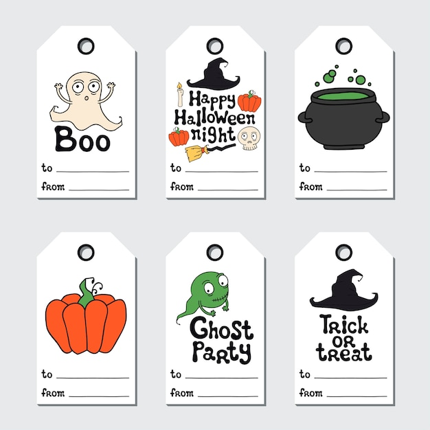 Premium Vector Halloween Gift Tags