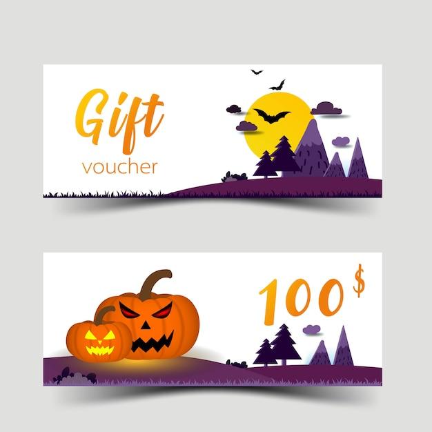 Halloween gift vouchers set Premium Vector