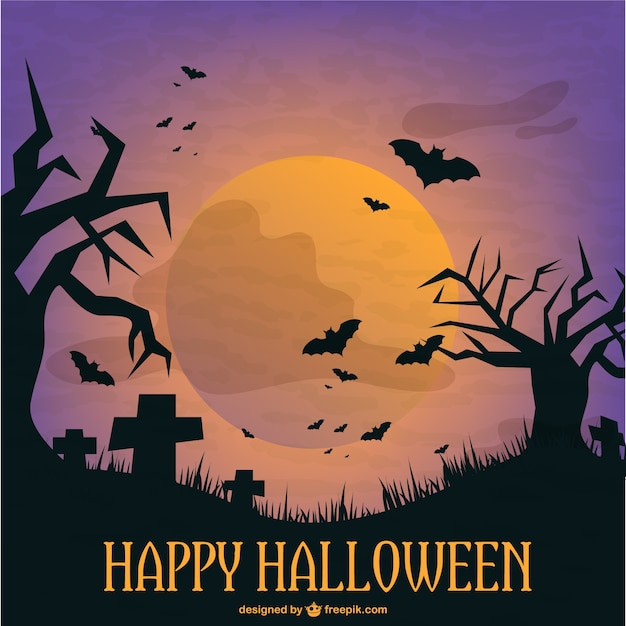 Halloween graveyard template illustration Vector | Free Download