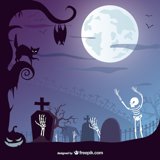 Halloween graveyard with a black cat and skeletons Free Vector