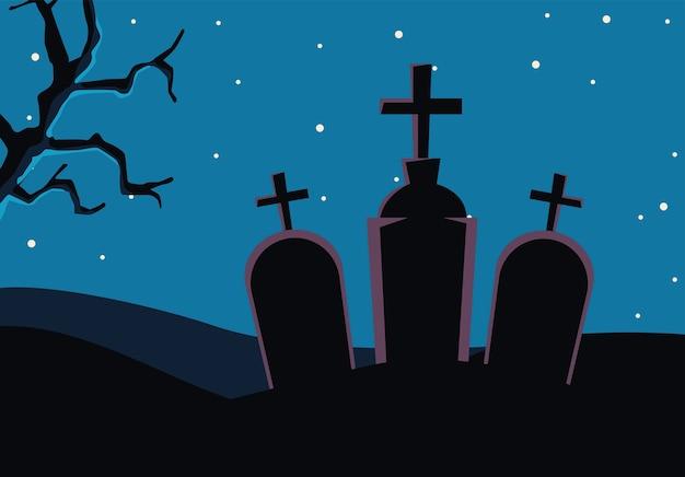 Halloween graveyards tombs cemetery scene Premium Vector