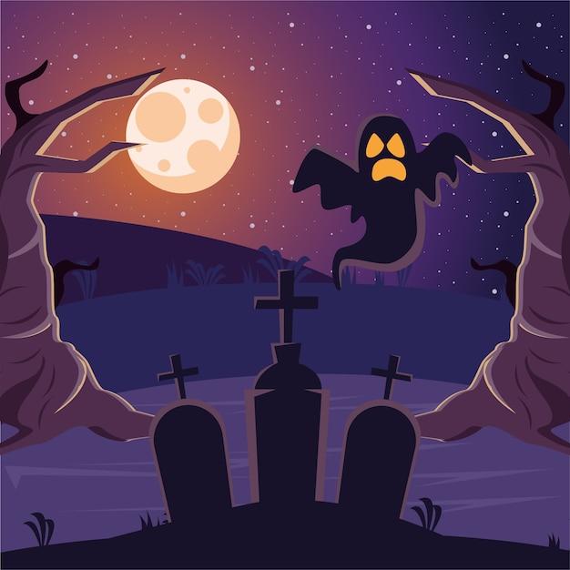 Halloween graveyards tombs cemetery with ghost Premium Vector