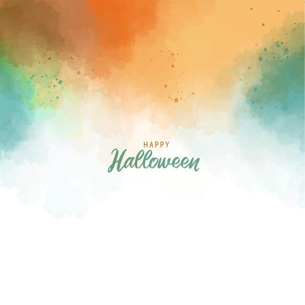 할로윈 인사말 카드 서식 파일 수채화 텍스처와 녹색 오렌지 추상 스플래시 페인트 배경 프리미엄 벡터