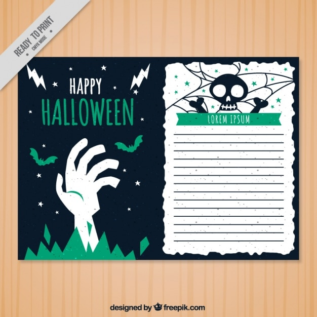 halloween greeting card template Free Vector