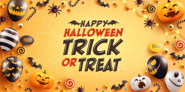 Halloween greeting card with cute halloween pumpkin, bat, spider and candy. Premium Vector