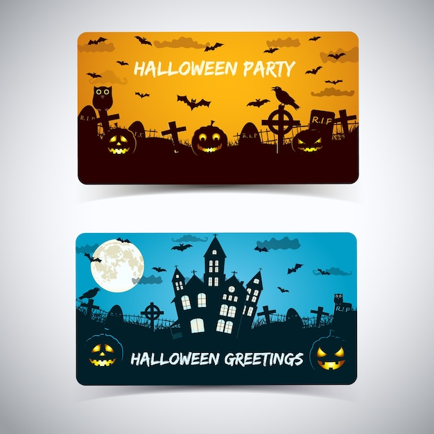 Halloween greeting card with haunted house cemetery lanterns from pumpkin animals on sky Free Vector