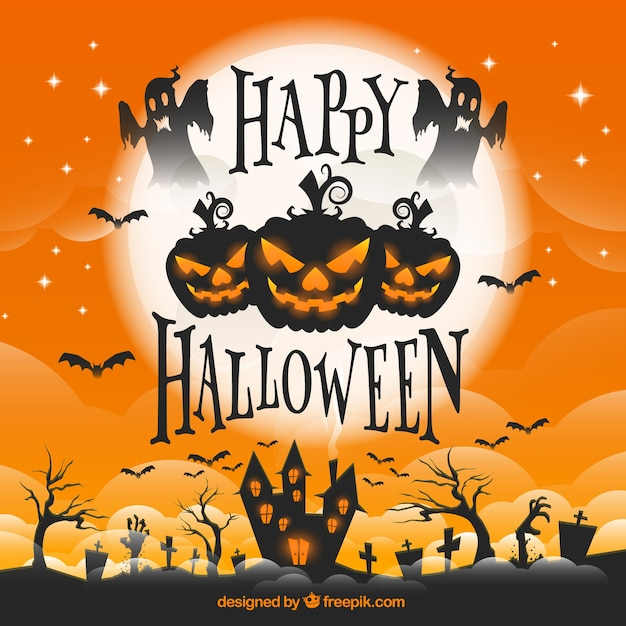 halloween greeting card vector free download
