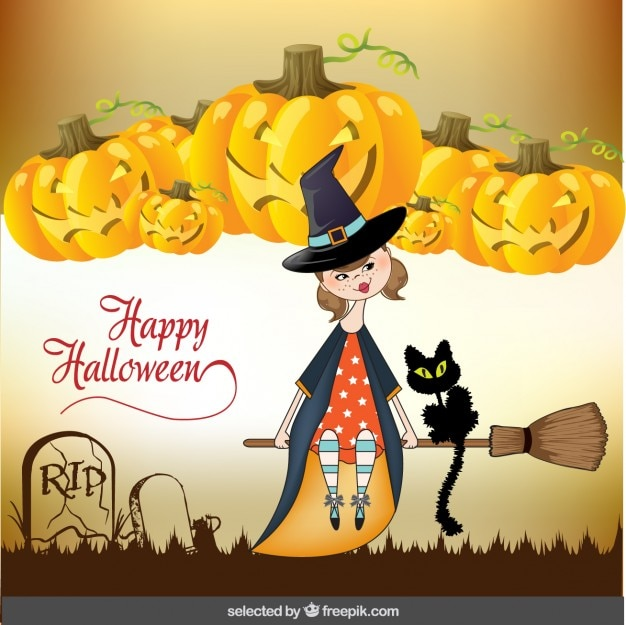 Halloween greeting with cute witch