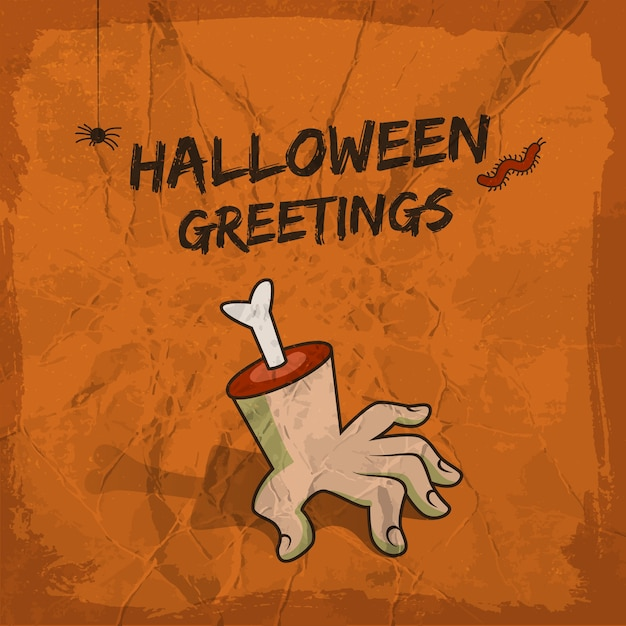 Halloween greetings design with severed hand hanging spider and worm Free Vector