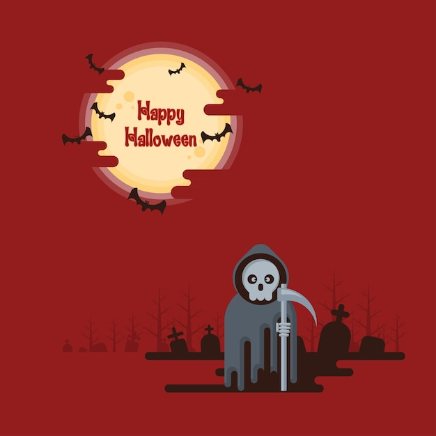Halloween, grim reaper standing with scythe at night in a graveyard under glowing full moo Premium Vector