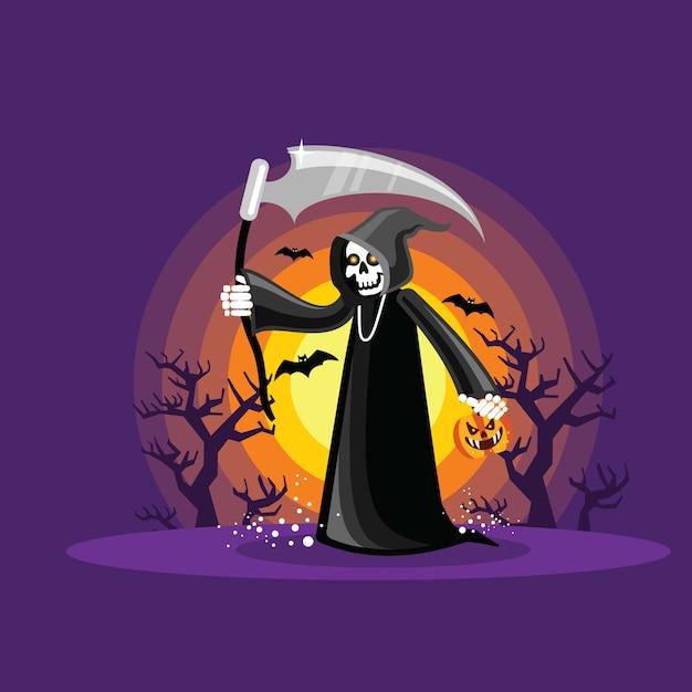 Halloween grim reaper Premium Vector