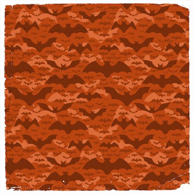 평면 빨간색 배경에 어두운 비행 Pipistrelles 할로윈 그런 지 패턴 프리미엄 벡터