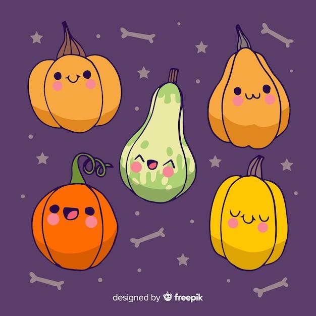 Halloween hand drawn cute pumpkins Free Vector
