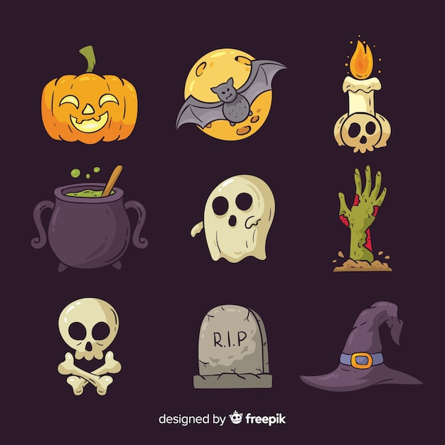 Halloween hand drawn elements collection Free Vector