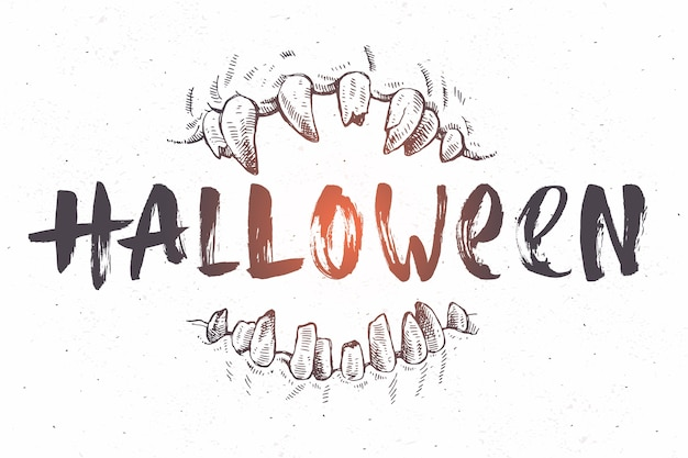 Halloween hand drawn illustration. jaws of a monster and brush calligraphy. Premium Vector