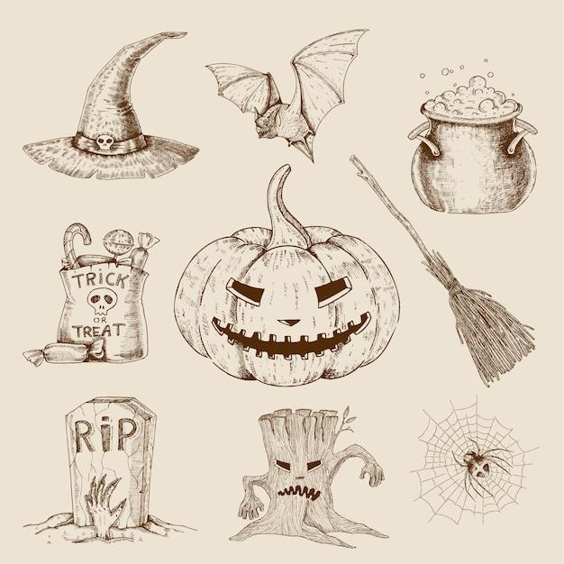 Набор рисованной хэллоуин Бесплатные векторы