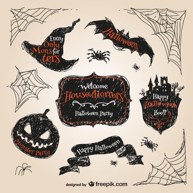 Halloween hand drawn stickers Free Vector