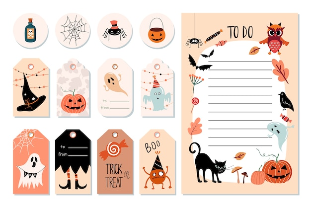 Хэллоуин повешенные этикетки и список дел с конкретными милыми элементами, рисованной иллюстрацией. Premium векторы