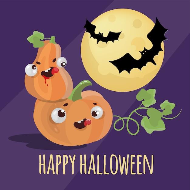 Halloweenハッピーホリデーバットパンプキン漫画手描きフラットデザイン暗い背景に Premiumベクター