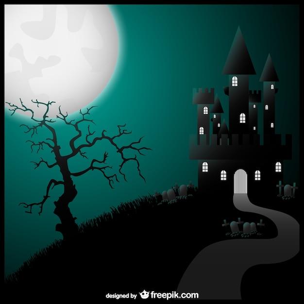 Halloween haunted castle at night