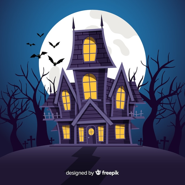 Halloween haunted house background in flat design Free Vector