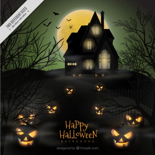 halloween haunted house background free vector