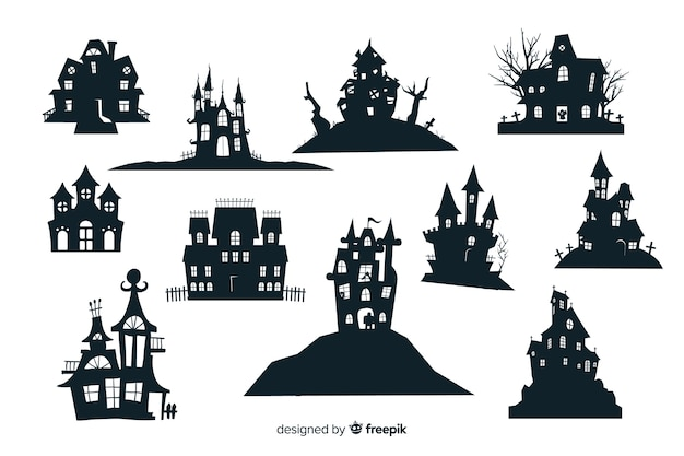 Halloween haunted house silhouette collection Free Vector