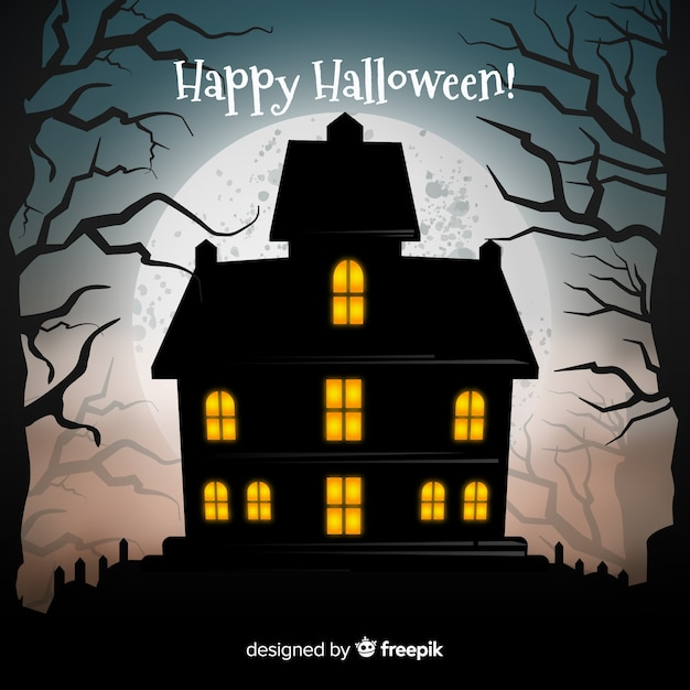 Halloween haunted house with realistic design Free Vector