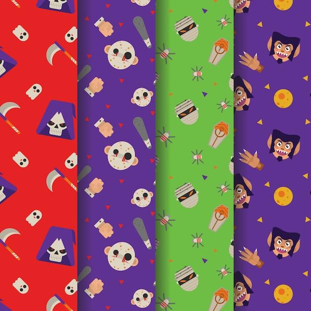 Halloween head character costume pattern Premium Vector