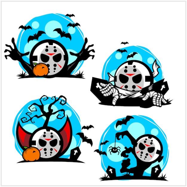 Halloween hockey mask cartoon logo set Premium Vector