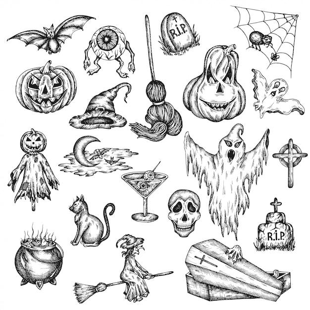 ハロウィン休日の漫画の恐怖セット。 Premiumベクター