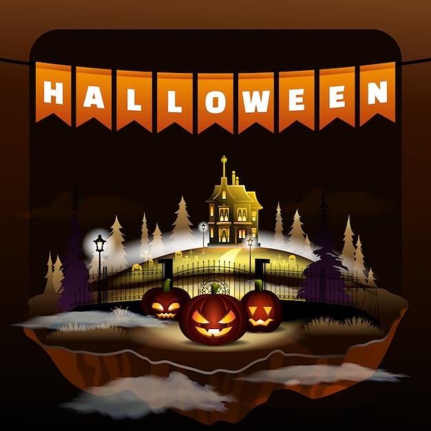 Halloween holiday celebration. flat vampire castle Premium Vector