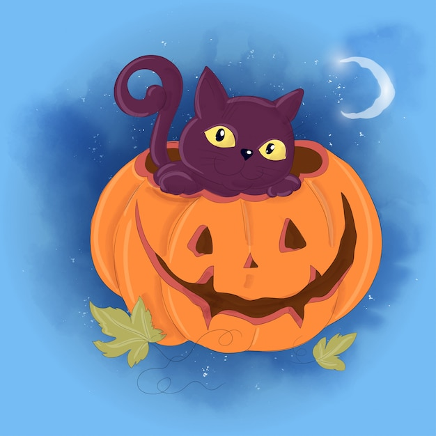 Halloween holiday greeting card with cute pumpkin and black cat. Premium Vector