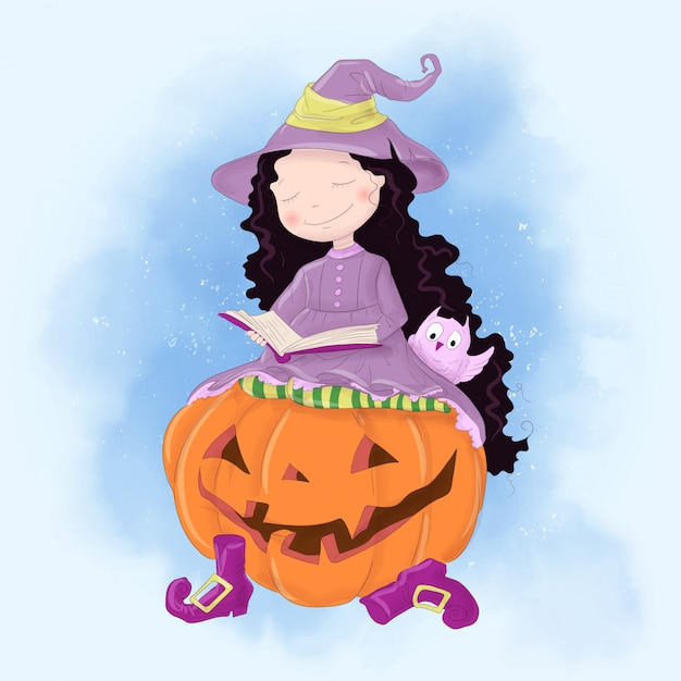 Halloween holiday greeting card with cute witch, pumpkin and owl. Premium Vector