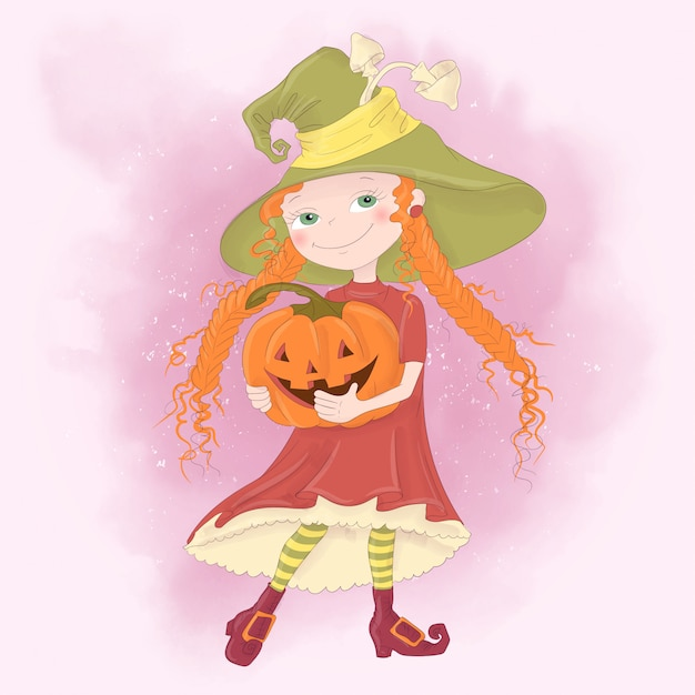 Halloween holiday greeting card with cute witch, pumpkin Premium Vector