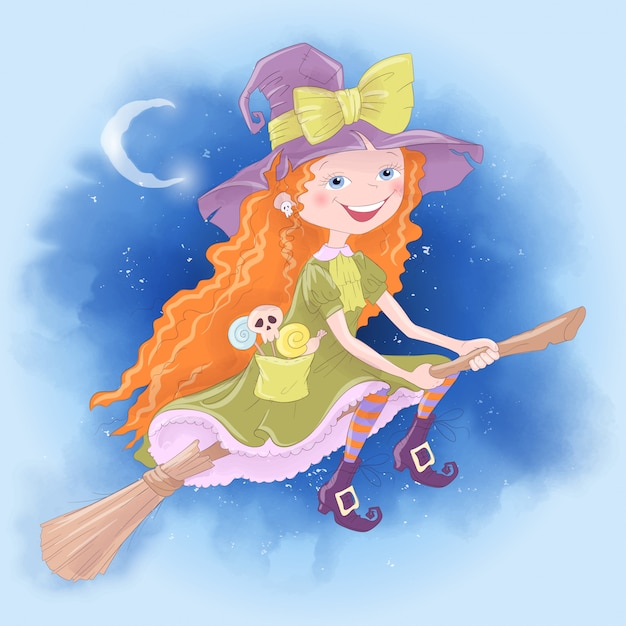 Halloween holiday greeting card with cute witch Premium Vector