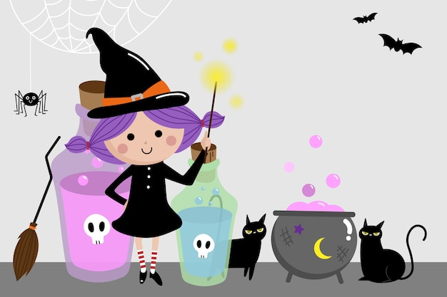 Halloween holidays background with cute witch and black cat. Premium Vector
