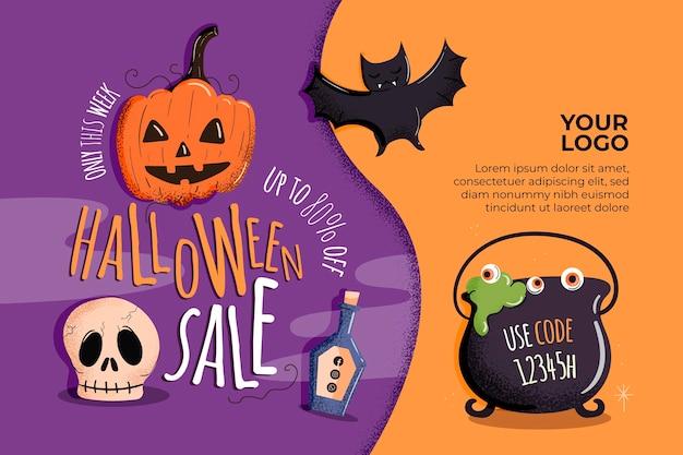 Halloween horizontal sale banner Premium Vector