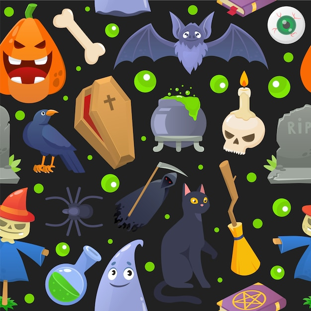 Halloween horror pattern, cartoon pumpkin  illustration. spooky holiday seamless background, scary ghost celebration . Premium Vector