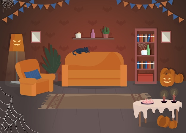 할로윈 집 장식 세미 평면 그림입니다. 전통적인 휴일 축하 장소. 호박 조명. 집에서 게임을 속이거나 대우하십시오. 상업용 축제 2d 만화 인테리어 프리미엄 벡터