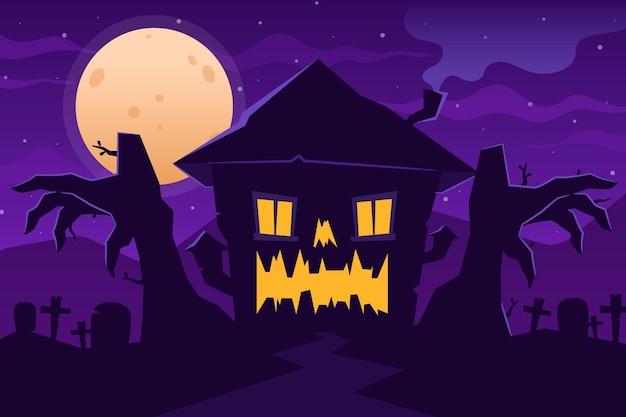 Casa di halloween in design piatto Vettore gratuito