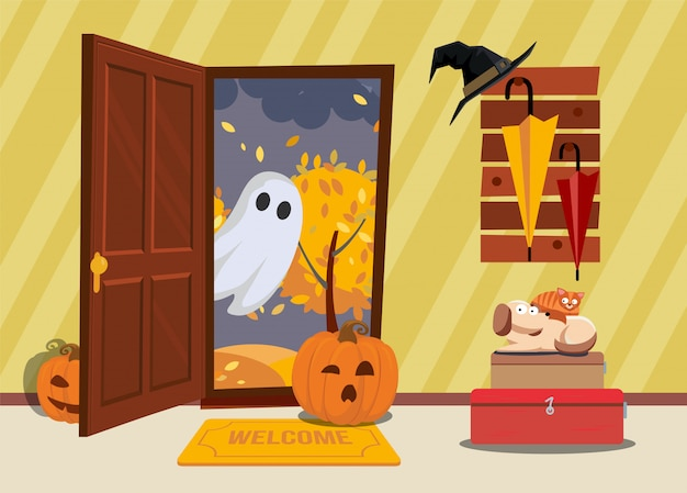 Halloween house interior. cat and dog are afraid of pumpkin and ghosts come through door in hallway. Premium Vector