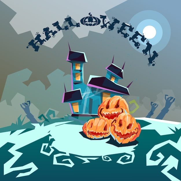 Halloween House With Pumpkin Face Party Invitation Card
