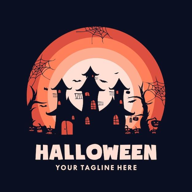 Halloween house with pumpkin logo Premium Vector