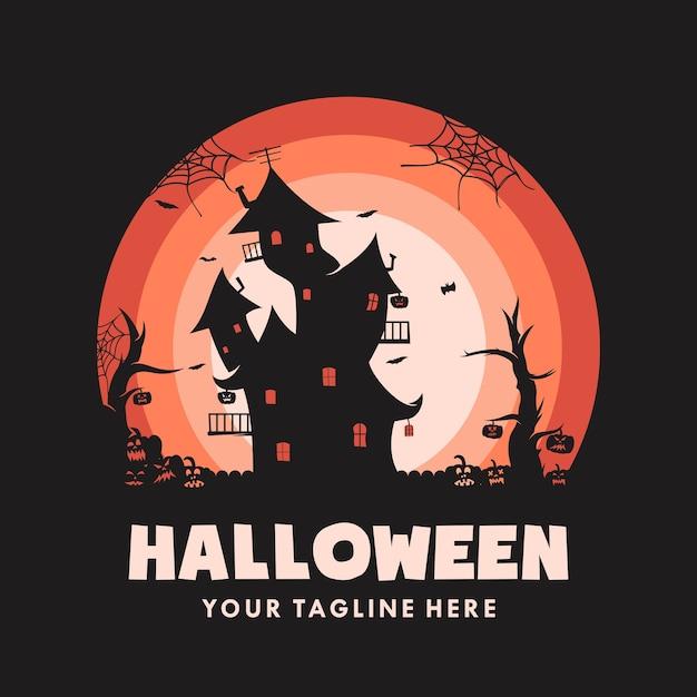 Дом на хэллоуин с тыквенным логотипом Premium векторы